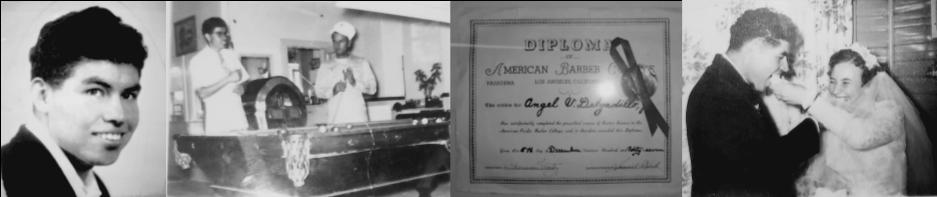 Angel Delgadillo, Angel playing pool, Angel's Barber Diploma, Angel & Vilma's wedding reception