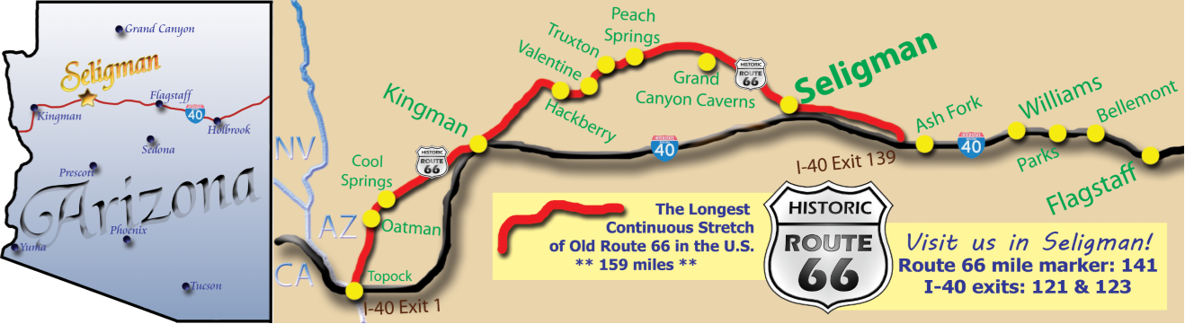 Where is Seligman Arizona? Here it is. Come visit the Birthplace of Historic Route 66 along the longest remaining stretch of Route 66 in the USA.