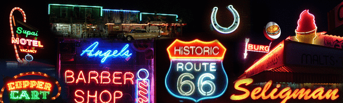 The neon signs in Seligman Arizona Birthplace of Historic Route 66