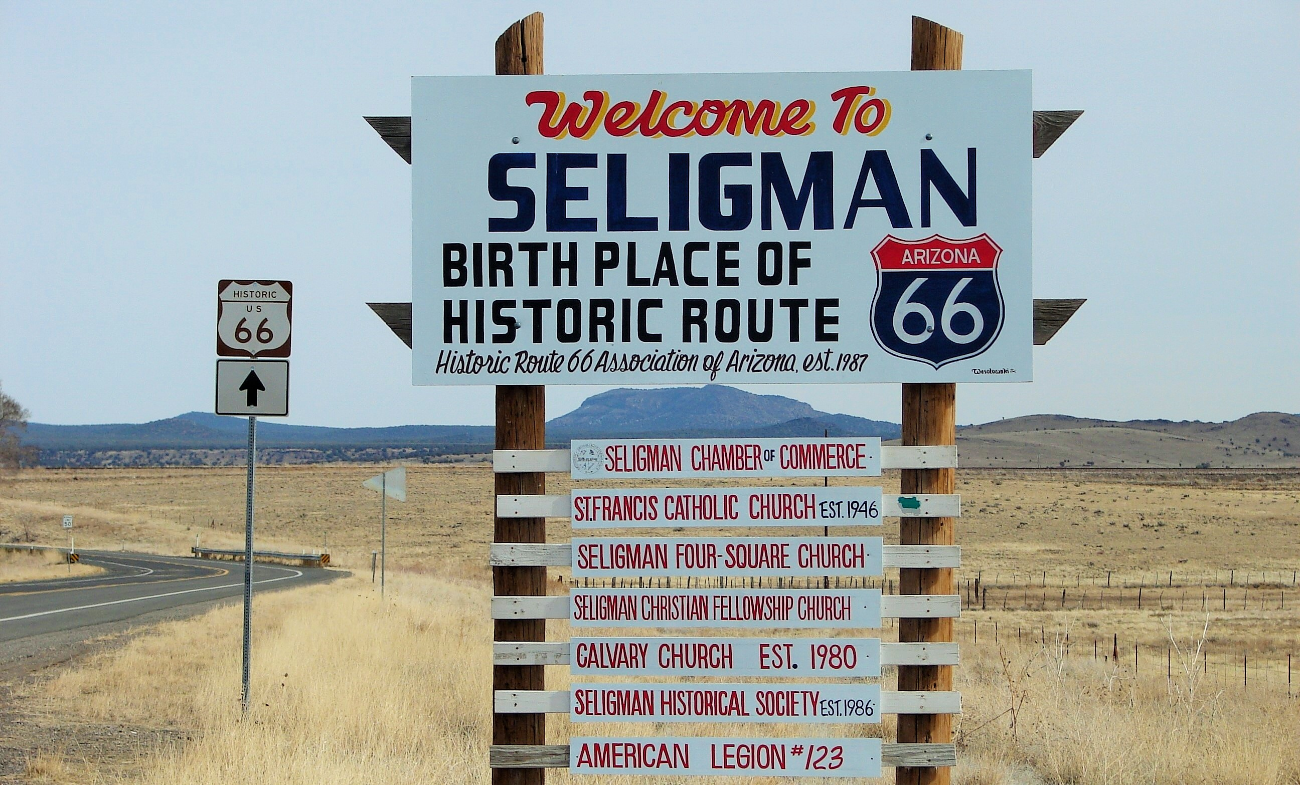 Seligman Arizona The Birthplace of Historic Route 66 Sign