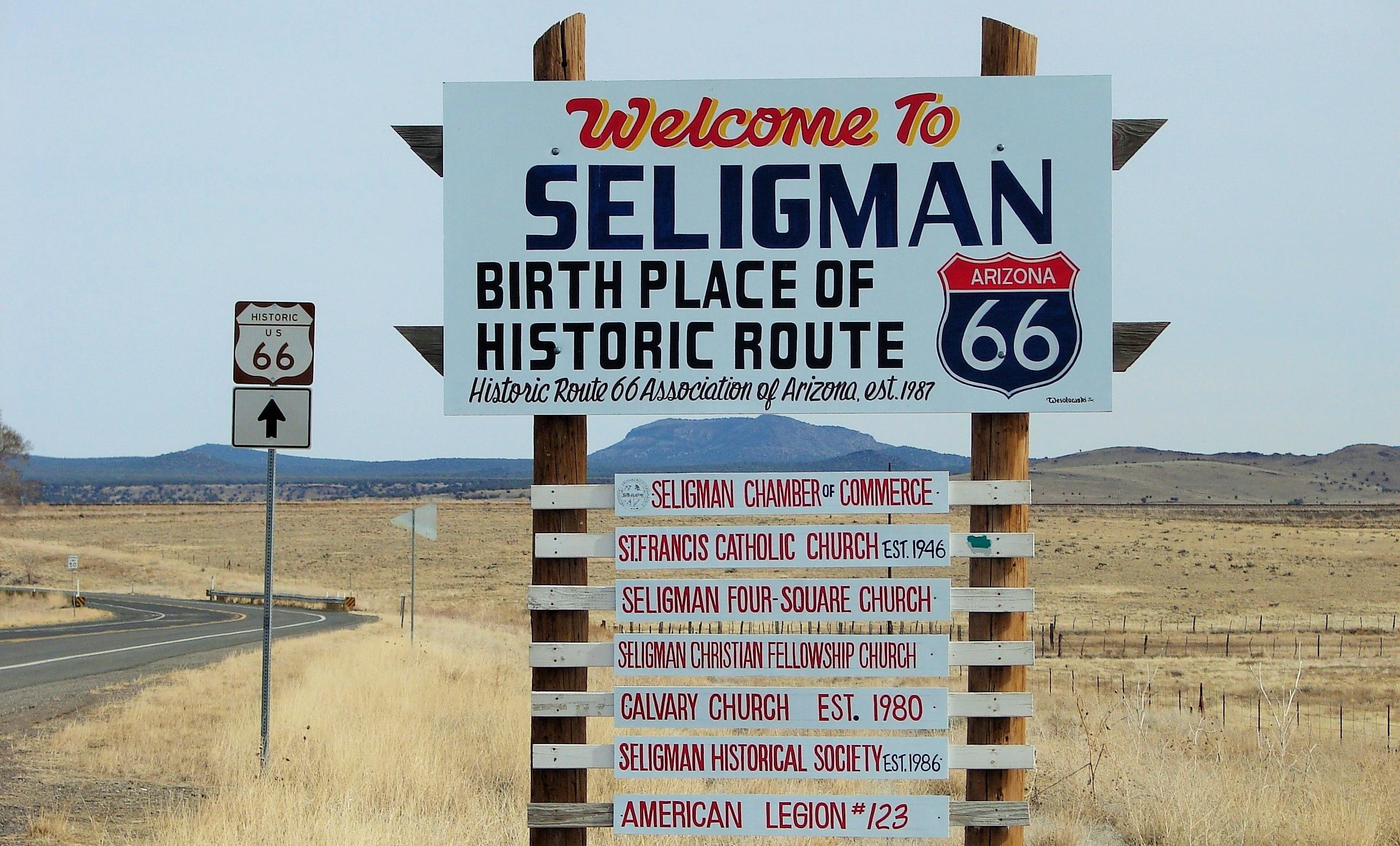 Map Of Old Route 66 Arizona.Seligman Arizona