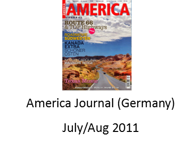 America Journal Magazine July/Aug 2011 features Angel Delgadillo and the Original Route 66 Gift Shop in Seligman Arizona
