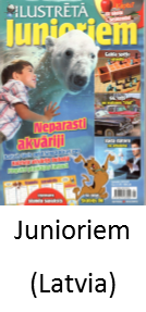Junioriem, a Latvian magazine for children, featuring Angel Delgadillo's Route 66 Gift Shop and the Snow Cap in Seligman Arizona